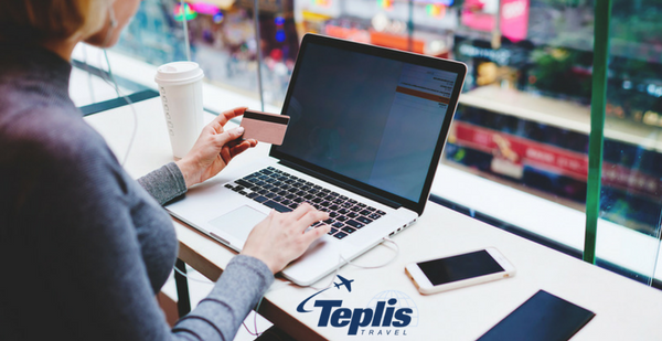 Corporate Travel Agency Woman Buying Airplane Ticket Online | Teplis Travel