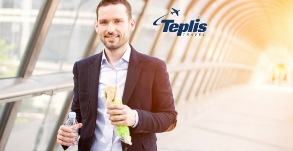 Business Travel Agency Businessman Walking and Eating Healthy and Drinking Water | Teplis Travel