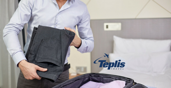 Business Travel Agency Businessman Packing Suitcase | Teplis Travel