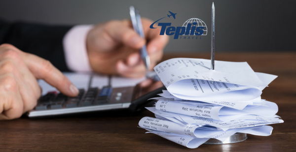 Corporate Travel Agency Businessman Calculating Expenses from Receipts | Teplis Travel